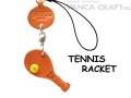 VANCA本革レザーグッズ携帯ストラップ テニスラケット