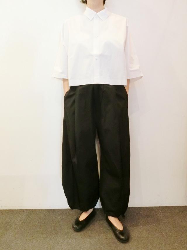 BARBARA ALAN:ホワイトワイドクロップシャツ