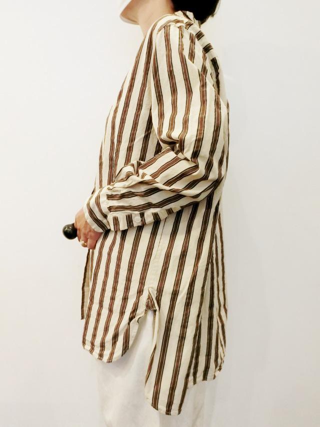 CASEY CASEY:ストライプノーカラーシャツ