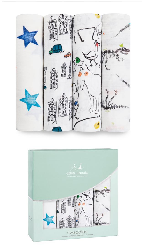 【エイデン+アネイ(Aden&Anais)】モスリンラップ4枚組(color pop )