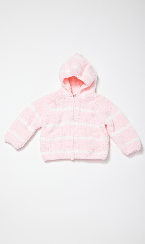 【エンジェルディア】シェニールフーデッドジャケット(ペールピンク×アイボリー)0-2歳