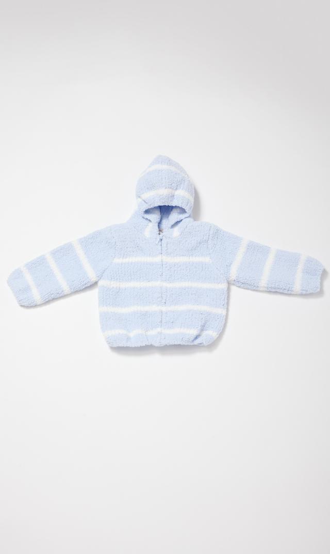 【エンジェルディア】シェニールフーデッドジャケット(ライトブルー×アイボリー) 0-2歳