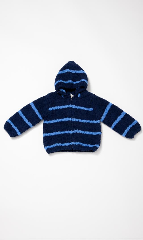 【エンジェルディア】シェニールフーデッドジャケット(ネイビー×セルリアンブルー) 0-2歳