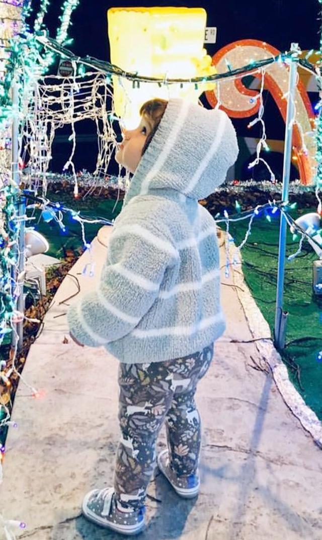 【エンジェルディア 】シェニールフーデッドジャケット(ライトグレー×ホワイト)6-24ヵ月