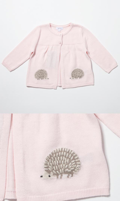 【エンジェルディア(Angel Dear)】スウィングカーディガン(ハリネズミ・ピンク)/6-24ヶ月
