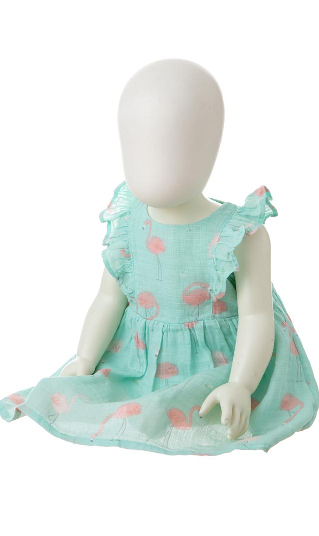 【エンジェルディア(Angel Dear)】ラッフルサンドレス&ブルマ(フラミンゴ)/6-24ヶ月