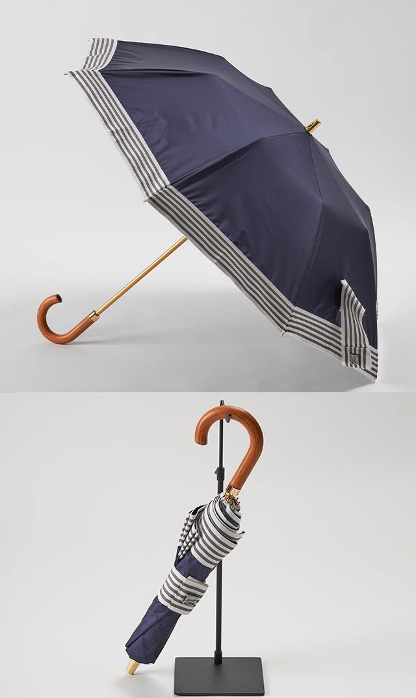 【アシーナニューヨーク】SohoStripe折りたたみ日傘(晴雨兼用/ネイビー)