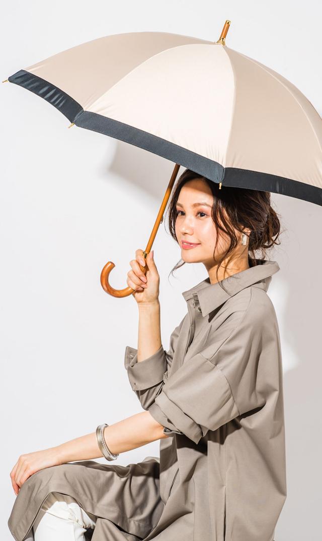 【アシーナニューヨーク】カミラ晴雨兼用傘/ショート(ベージュ×ブラック)
