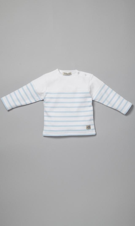 【アルモーリュックス】ボーダーベビーカットソー(ホワイト×ライトブルー)6ヶ月~12ヶ月