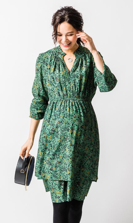 【アテッサ】フローラルナーシングドレス(グリーン)