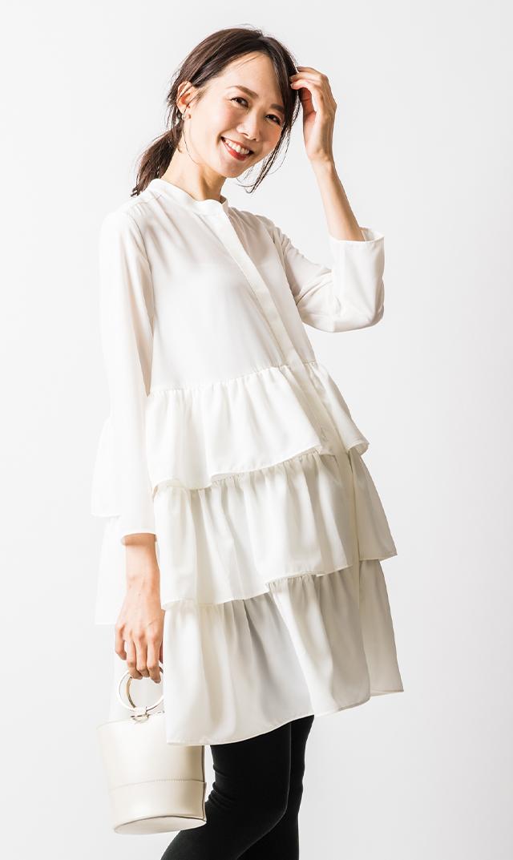 【アテッサ】ティアードフリルチュニックドレス(ホワイト)