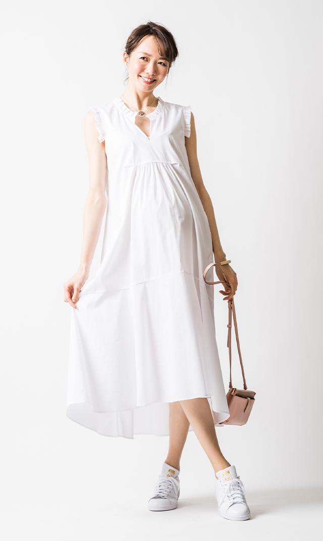 【アテッサ】ストレッチコットンフリルトリムドレス(ホワイト)