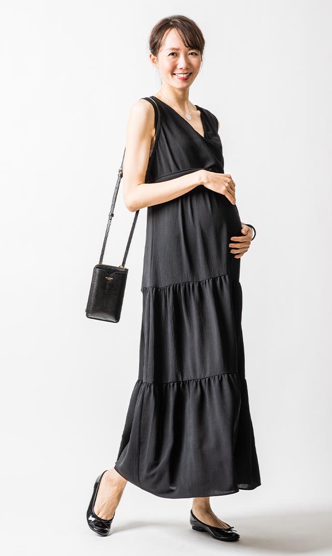 【アテッサ】クロスボディロングドレス(ブラック)[SALE]