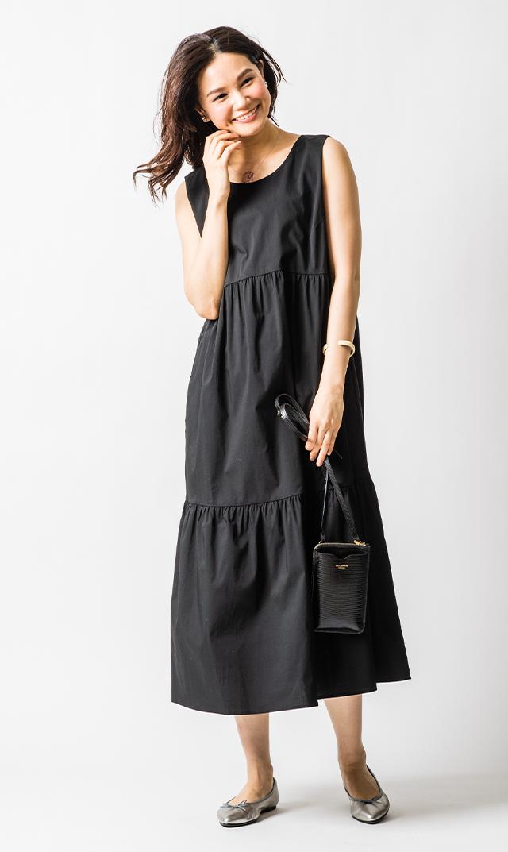 【アテッサ】ストレッチコットンティヤードドレス(ブラック)