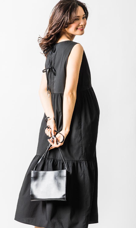 【アテッサ】ストレッチコットンティヤードドレス(ブラック)[SALE]