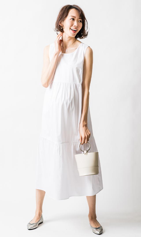 【アテッサ】ストレッチコットンティヤードドレス(ホワイト)