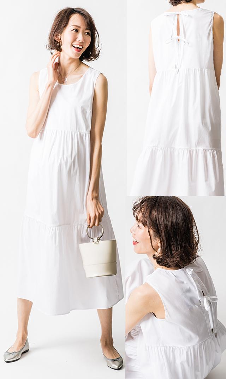 【アテッサ】ストレッチコットンティヤードドレス(ホワイト)[SALE]