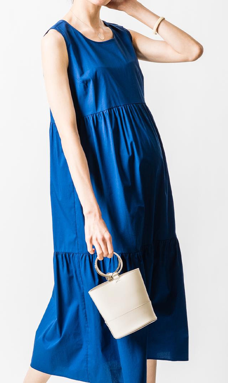 【アテッサ】ストレッチコットンティヤードドレス(ロイヤルブルー)