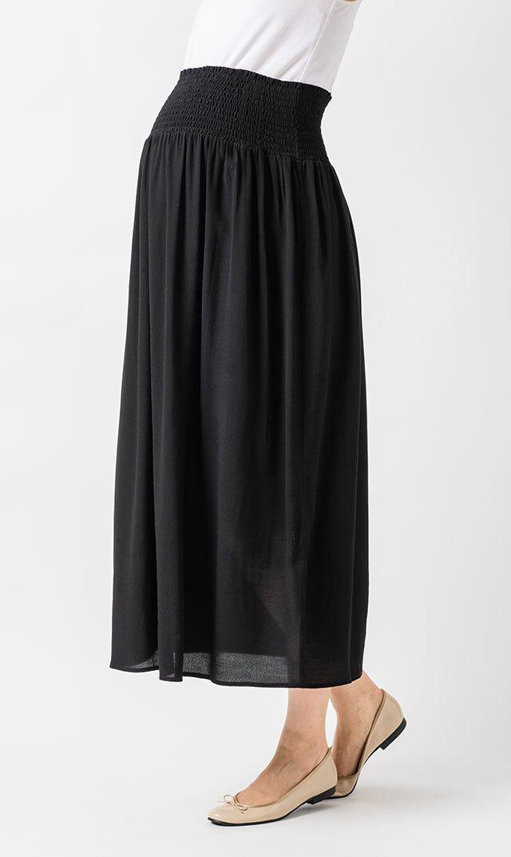 [マタニティ]【アテッサ】2WAYミディスカート(ブラック)