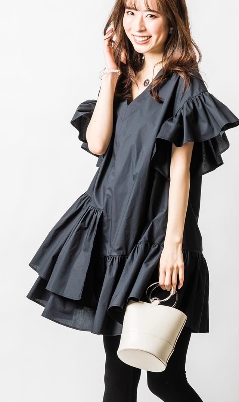 【アテッサ】フリルギャザードレス(ブラック)