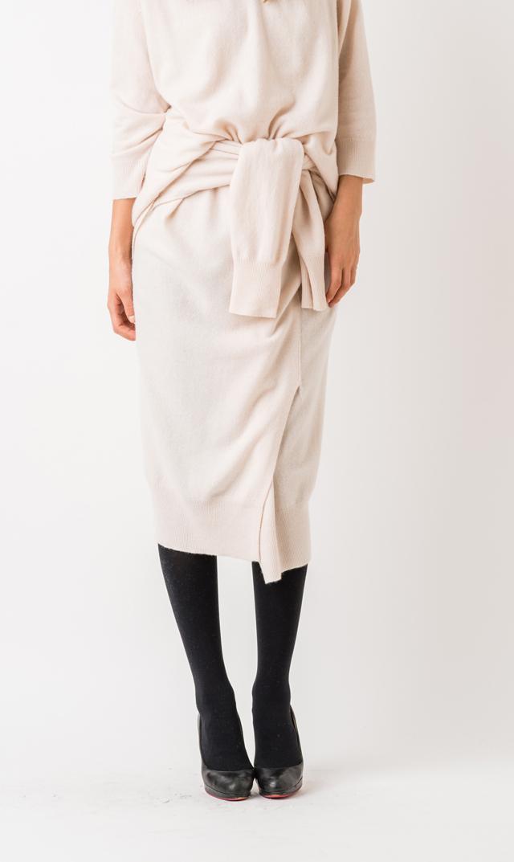 【アダワス(ADAWAS)】カシミア混デザインスカート(ピーチ)
