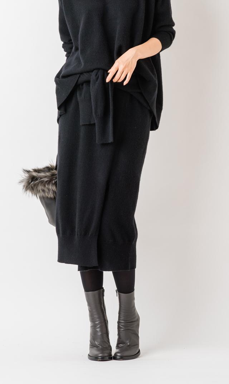 【アダワス(ADAWAS)】カシミア混デザインスカート(ブラック)