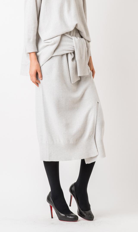 【アダワス(ADAWAS)】カシミア混デザインスカート(クラウド)