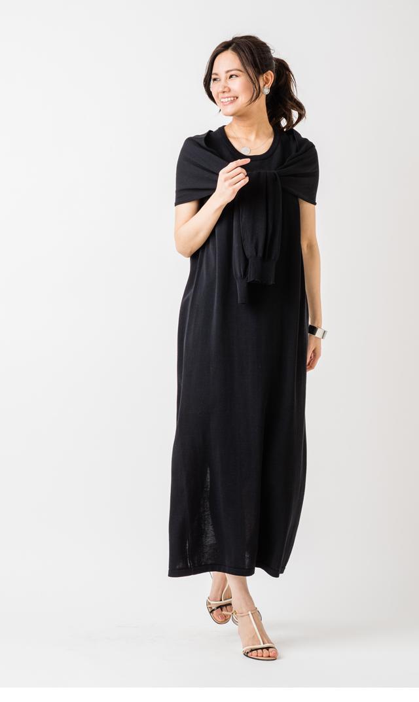 【アダワス(ADAWAS)】タイディテールニットドレス(ブラック)
