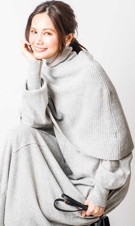 [レディース]【アダワス】カシミヤ混ケープニットドレス(クラウド)
