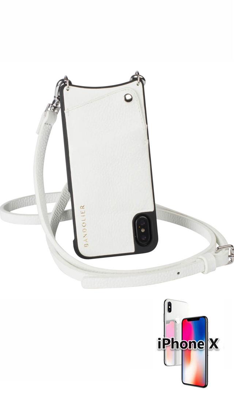 """【バンドリヤー(BANDOLIER)】EmmaストラップiPhone""""X""""ケース(ホワイト)"""