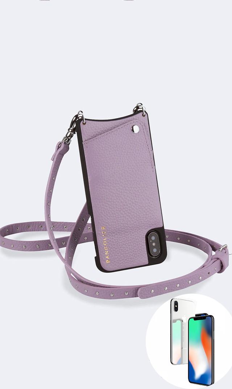 """【バンドリヤー(BANDOLIER)】NicoleストラップiPhone""""X/XS・XR""""ケース(ライラック)"""