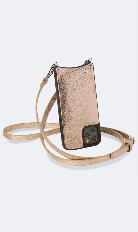 【バンドリヤー(BANDOLIER)】EMMAストラップiPhoneケース(シャンパンゴールド)