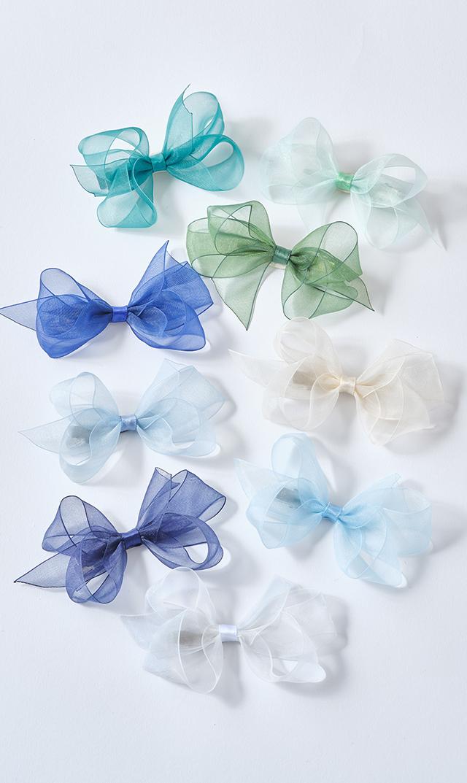 【ボウズアーツ】オーガンジーキッズリボンヘアクリップ(ブルー系9色展開)