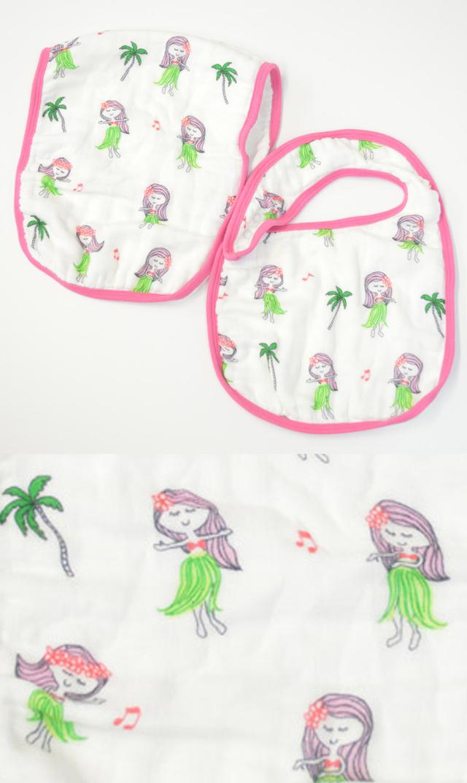 【ココムーン(CocoMoon)】ビブ&バープクロスセット (HulaGirls)