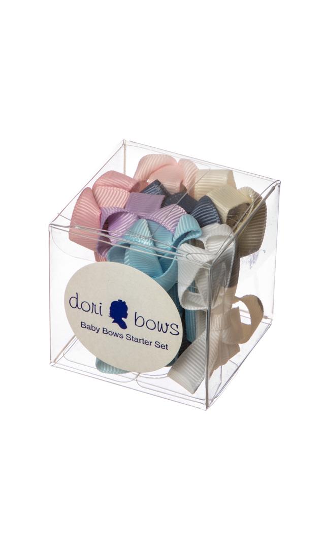 【ドリボウズ(dori bows)】ベビーリボンヘアクリップBOXセット(パステル7色)