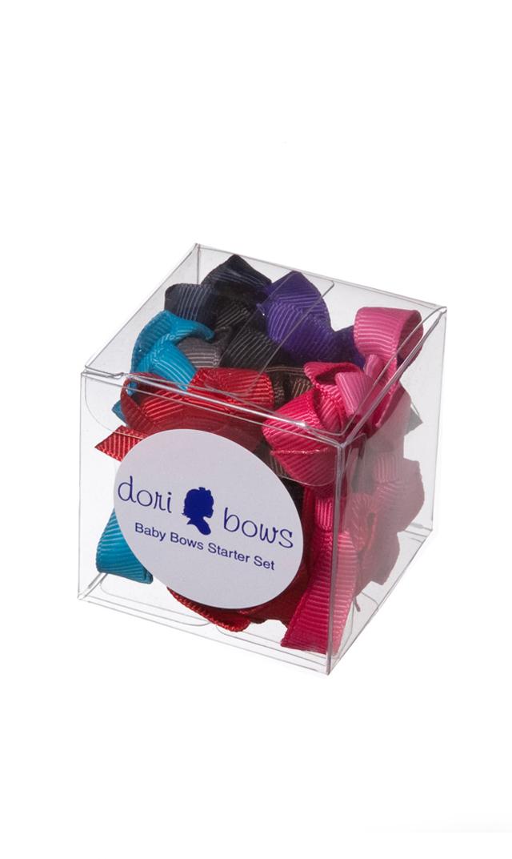 【ドリボウズ(dori bows)】ベビーリボンヘアクリップBOXセット(ベーシックカラー9色)