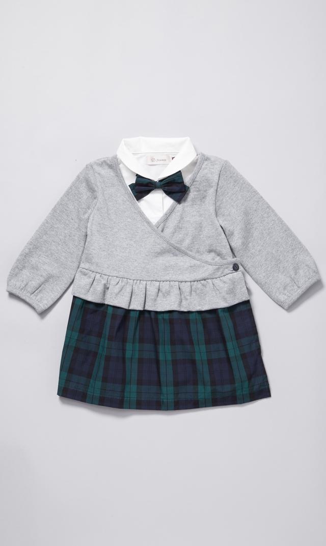 【D.fesense(ディーフェセンス)】チェックレイヤード風ドレス(グレー)