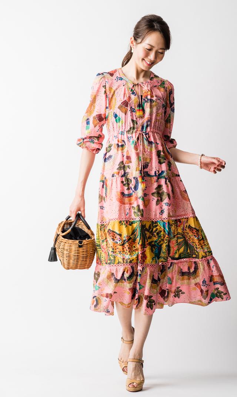 【ファームリオ(FARM RIO)】トロピカルバーズティアードドレス(ピンク)Sサイズ