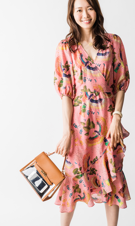 【ファームリオ(FARM RIO)】トロピカルバーズラッフルラップドレス(ピンク)XSサイズ