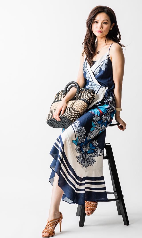【ファームリオ(FARM RIO)】バタフライキャミラップドレス(ブルー)