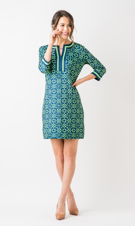 【グレッチェン スコット(Gretchen Scott)】スプリットネックドレス(ネイビー×グリーン)