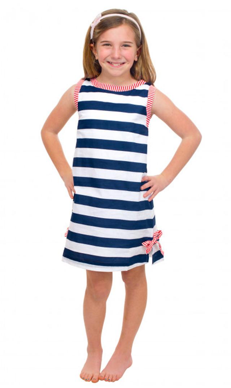 【グレッチェン スコット(Gretchen Scott)】ストライプコットンドレス(ネイビー×オレンジ)/2歳-10歳[
