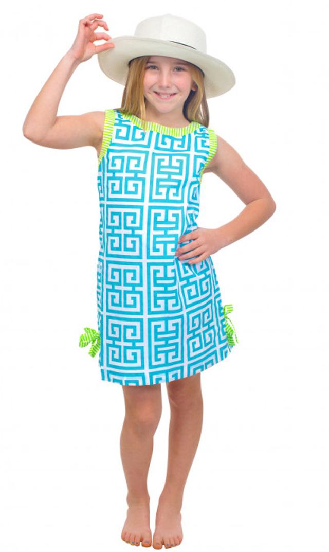 【グレッチェン スコット(Gretchen Scott)】マンダリンコットンドレス(ターコイズ×ライム)/2歳-10歳