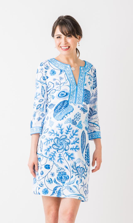 【グレッチェン スコット(Gretchen Scott)】スプリットネックドレス(ブルー)