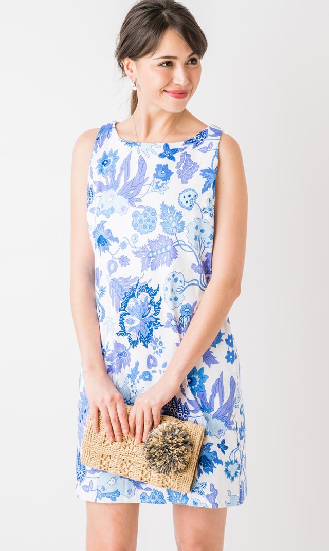 【グレッチェン スコット(Gretchen Scott)】ノースリーブワンダーランドドレス(ブルー×ホワイト)