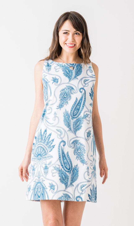 【グレッチェン スコット(Gretchen Scott)】ノースリーブプリュームドレス(ブルー×ホワイト)[アウトレット]