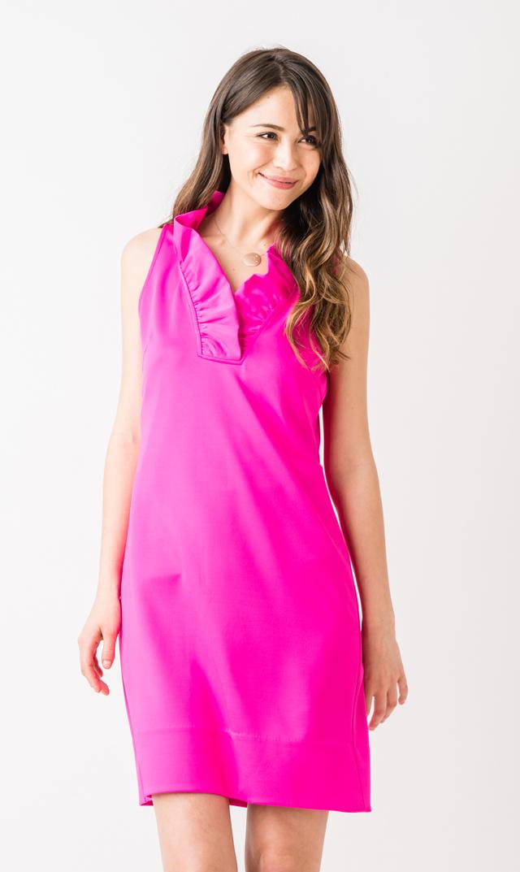 【グレッチェン スコット(Gretchen Scott)】ラッフルネックドレス(ピンク)