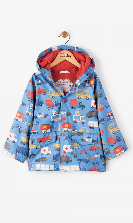 【ハットレイ(Hatley)】キッズレインコート(ブルー×ワーキングカー)2歳-4歳