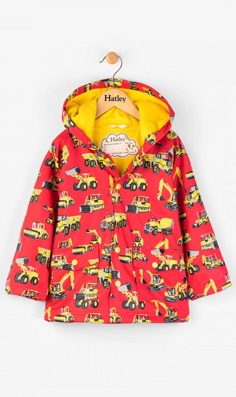【ハットレイ(Hatley)】キッズレインコート(レッド×ワーキングカー)2歳-4歳