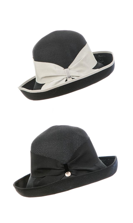 【ハッツアンドドリームス(Hats & Dreams)】ペーパーリボンハット(ブラック)[折り畳み可]